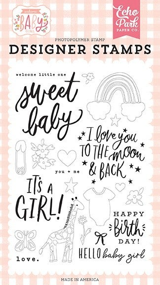 Echo Park Welcome Baby Girl Clear Photopolymer Stamps Welcome Little One