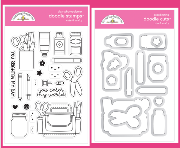 Doodlebug Design Cute and Crafty Stamps and Doodle Cuts Set