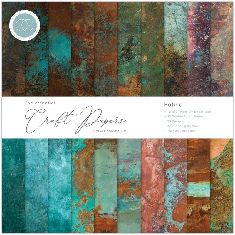 """Craft Consortium Double-Sided Paper Pad 12""""X12"""" PATINA"""