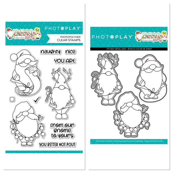 Photoplay Tulla & Norbert's Christmas Party Gnomies Stamp and Die Set