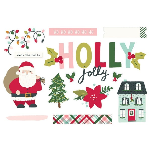 Simple Stories  Simple Pages  Christmas - Page Pieces - Holly Jolly