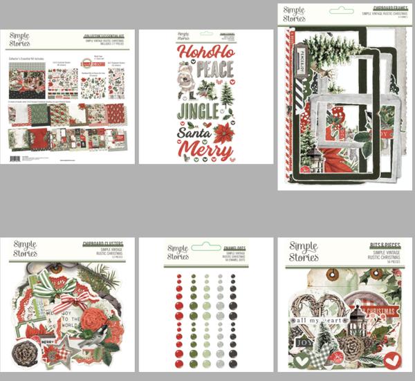 Simple Stories Simple Vintage Rustic Christmas 6 piece Happy Scrappy Bag