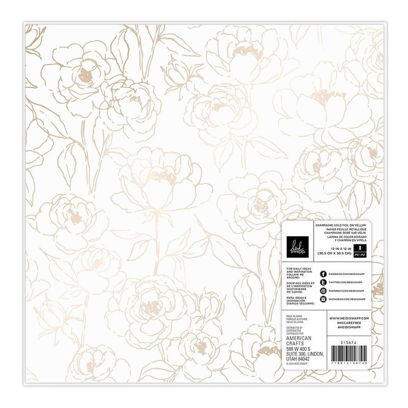 Heidi Swapp - Care Free Specialty Paper - Champagne Foiled Vellum