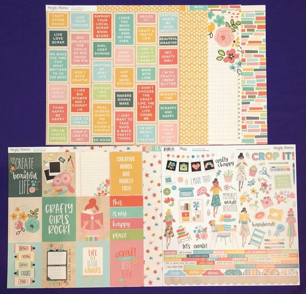 SIMPLE STORIES  Hey Crafty Girl 6 papers and sticker