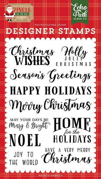 Echo Park - Jingle All The Way Collection - Clear Photopolymer Stamps - Christmas Wishes