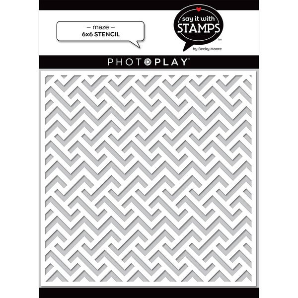 Photo Play Paper - Say It With Stamps  - 6 x 6 Stencil - Maze