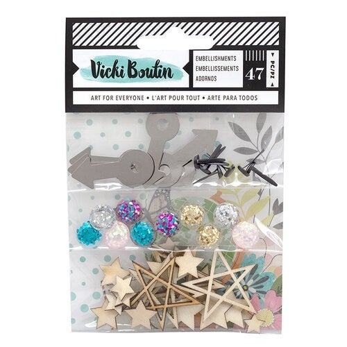 Vicki Boutin Let's Wander Collection  Embellishment Pack Wood stars