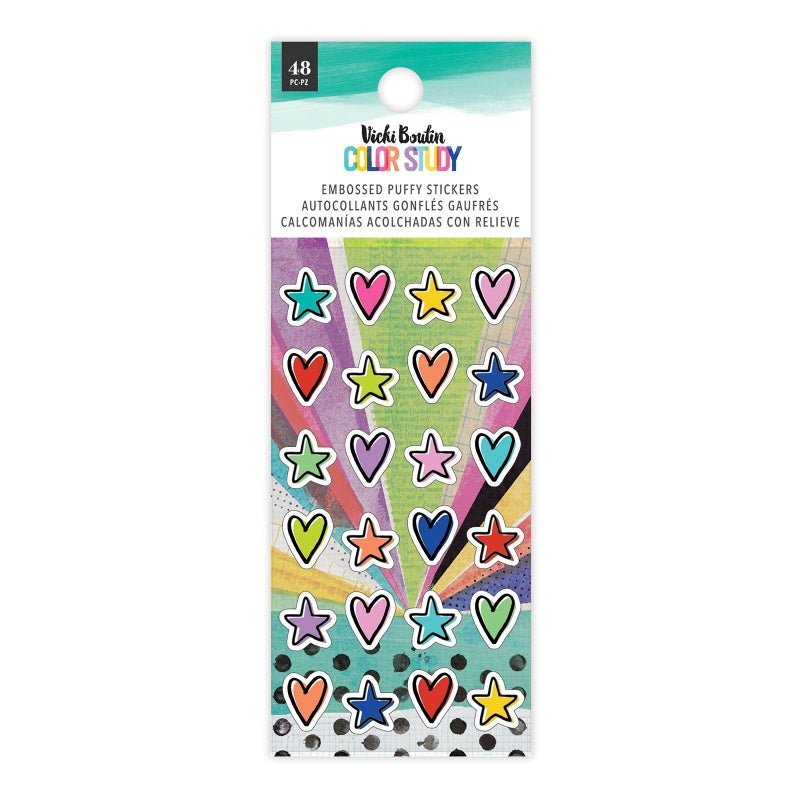 Vicki Boutin  Color Study Embossed Puffy Stickers Hearts/Stars