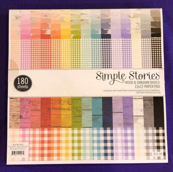 Simple Stories Wood & Gingham 12 x 12 Basics Paper Pad