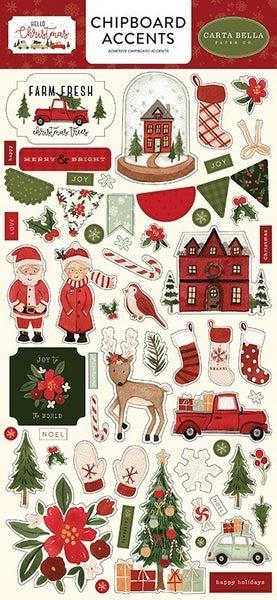 Carta Bella Hello Christmas Chipboard Accents