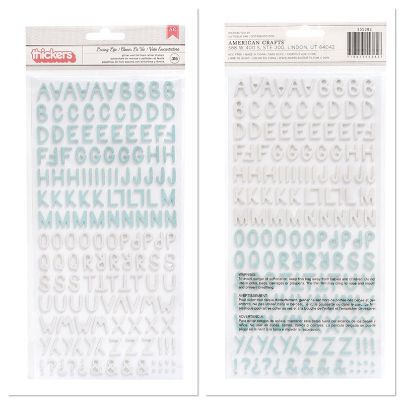 American Crafts Picnic in the Park Thickers  Iridescent Foil and Glitter Loving Life 355382
