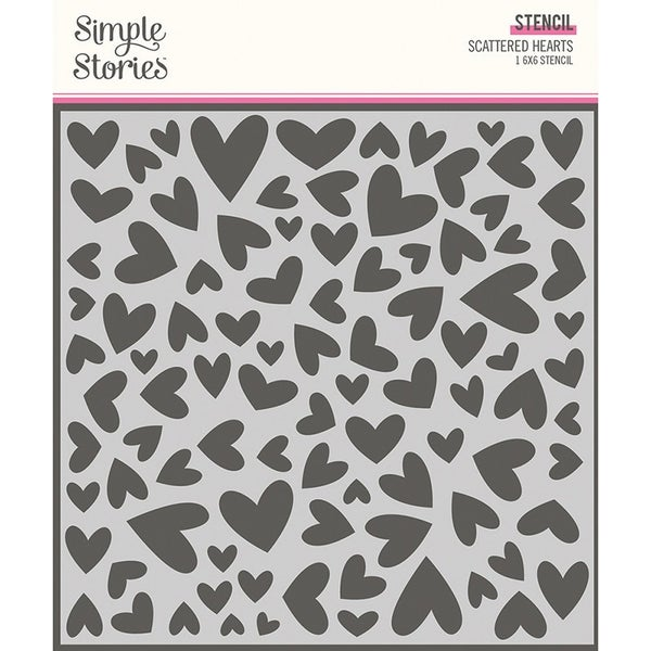 Simple Stories  Sweet Talk Collection  6 x 6 Stencil Scattered Hearts