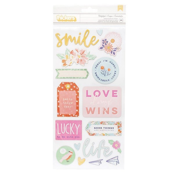 Thickers Phrase Delightful  Chipboard with Iridescent Foil Accents