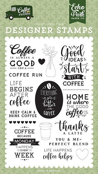 Echo Park Coffee and Friends Coffee Run Clear Photopolymer Stamps