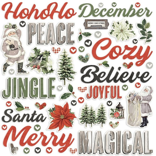 Simple Stories Simple Vintage Rustic Christmas Collection - Foam Stickers