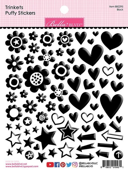 Bella Blvd  Besties  Puffy Stickers Black Trinkets