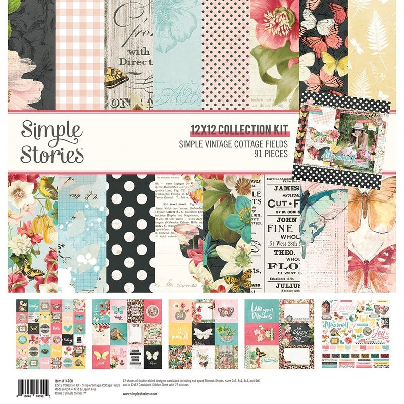 Simple Stories Simple Vintage Cottage Fields 6 pc Happy Scrappy Bag