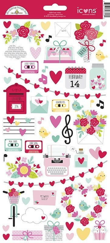Doodlebug Design Love Notes Cardstock Stickers  Icons