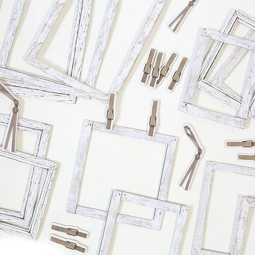 49 and Market - Vintage Artistry Essentials Collection - Whitewash Chipboard Frames