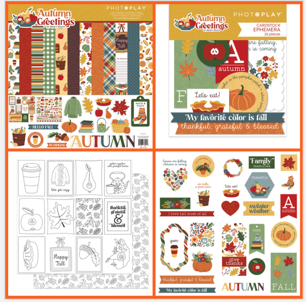 Photoplay Autumn Greetings 4 pc Happy Scrappy Bag