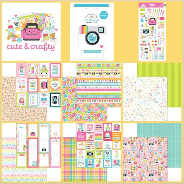 Doodlebug Design Cute & Crafty 14 Pc Mini Happy Scrappy Bag
