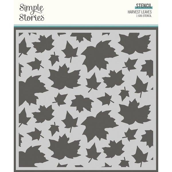 Simple Stories Simple Vintage Country Harvest  6 x 6 Stencil HARVEST LEAVES