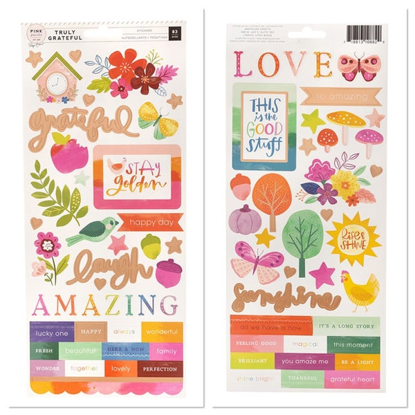 Pink Paislee Paige Evans Truly Grateful Cardstock Stickers with Copper Foil Accents
