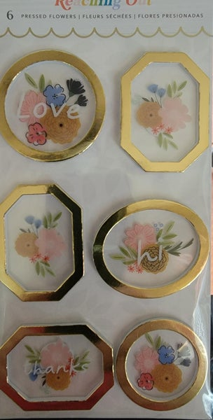 Jen Hadfield - Reaching Out Stickers - Pressed Flowers - Gold Foil Accents