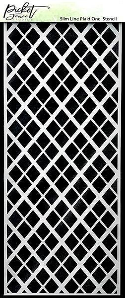 Picket Fence Studios 4 x 10 Slim Line Plaid One Stencil