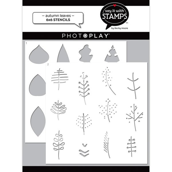 Photo Play Say It With Stamps  6 x 6 Stencils - Autumn Leaves