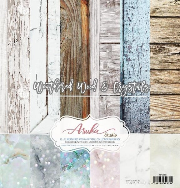 """Asuka Studio Collection Pack 12""""X12""""-Weathered Wood & Crystals"""