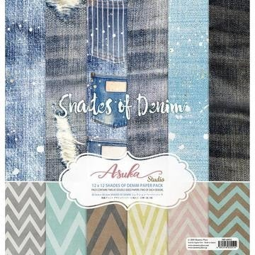 """Asuka Studio Collection Pack 12""""X12""""-Shades Of Denim"""