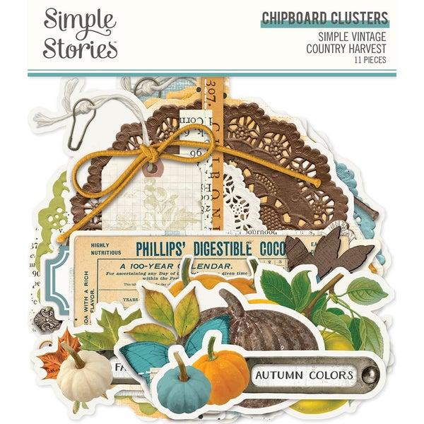 Simple Stories Simple Vintage Country Harvest Chipboard Clusters
