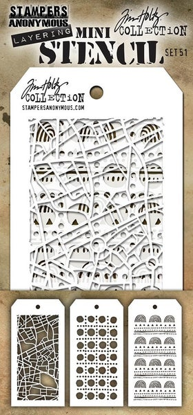 Stampers Anonymous Tim Holtz Mini Layering Stencil Set 51
