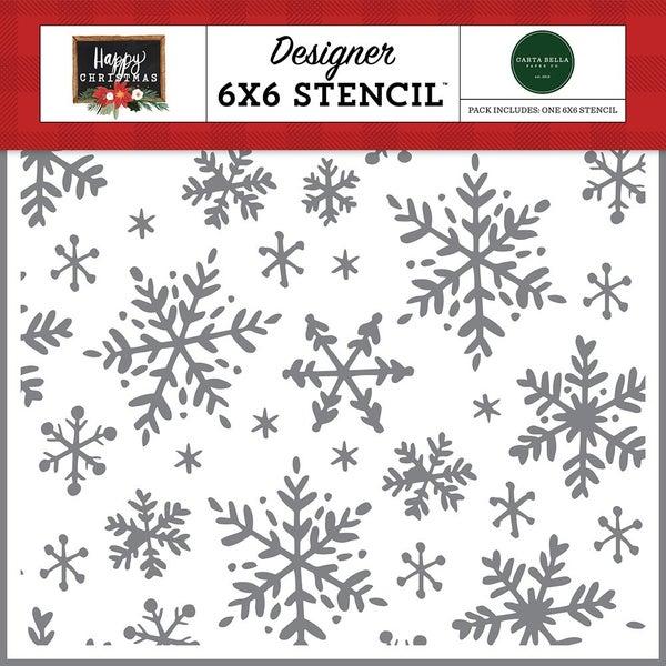 Carta Bella Happy Christmas Happy Snowflakes 6 x 6 Stencil