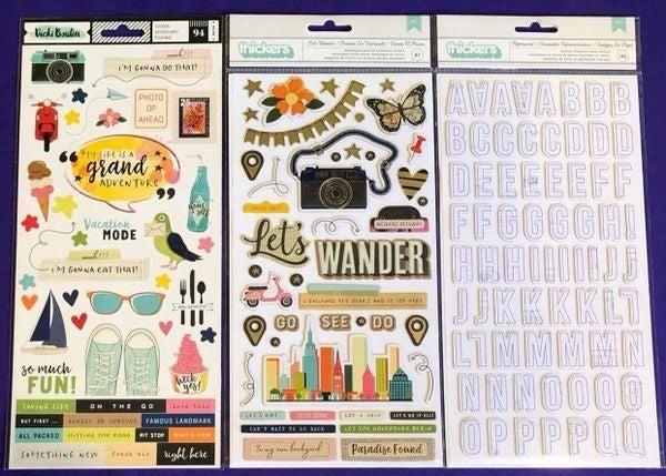 Vicki Boutin Let's Wander 8 pc 12 x 12 Pad Happy Scrappy Bag