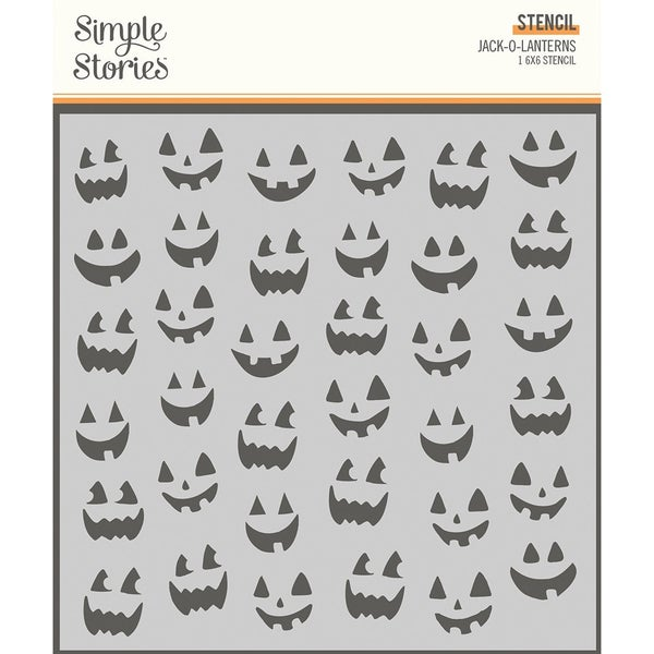 Simple Stories  Spooky Nights  Halloween  6 x 6 Stencil  Jack-O-Lanterns