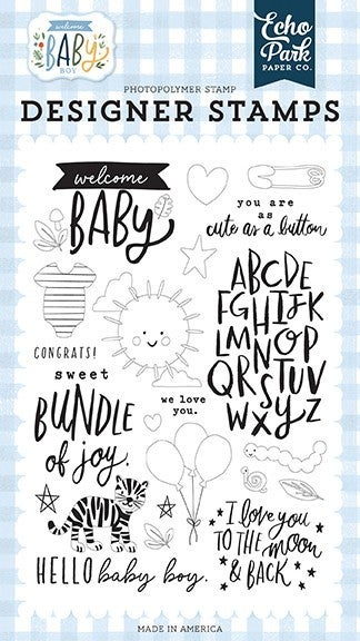 Echo Park Welcome Baby Boy Clear Photopolymer Stamps Welcome Baby