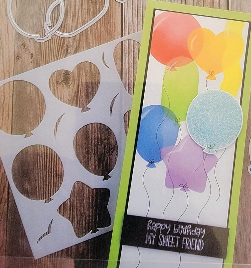 Photo Play Paper Say It With Stamps Balloons 6 x 6 Stencil