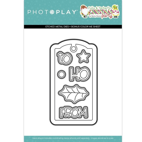 Photoplay Tulla & Norbert's Christmas Party Tag Etched Dies