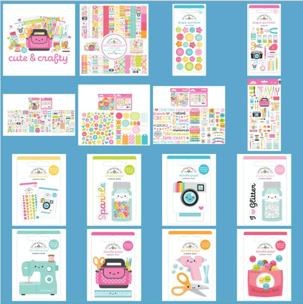Doodlebug Design Cute & Crafty MEGA 15 pc Happy Scrappy Bag