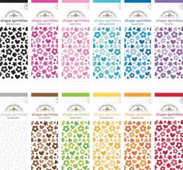 Doodlebug Design Confetti Shape Sprinkles Lot of 12 Colors