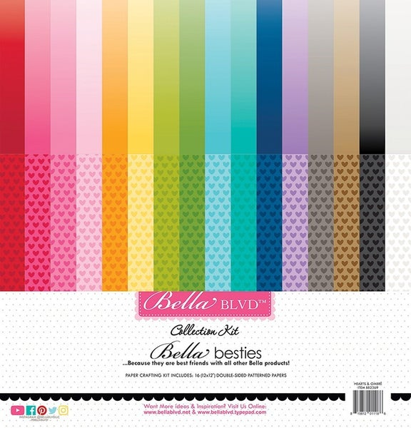 Bella Blvd  Besties 12 x 12 Collection Hearts & Ombre Rainbow