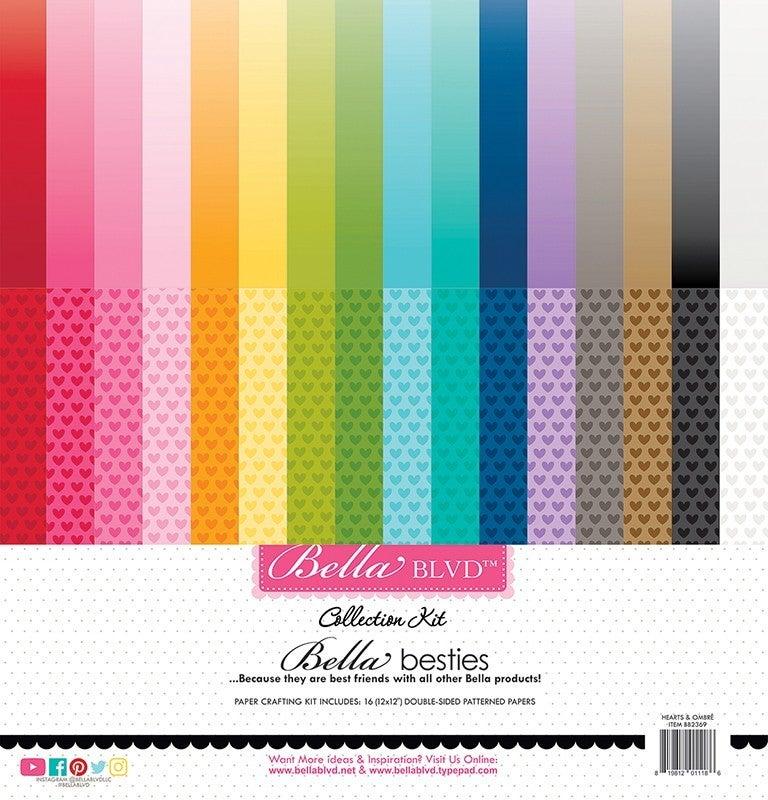 Bella Blvd  Besties 12 x 12 Collection Hearts & Ombre Rainbow