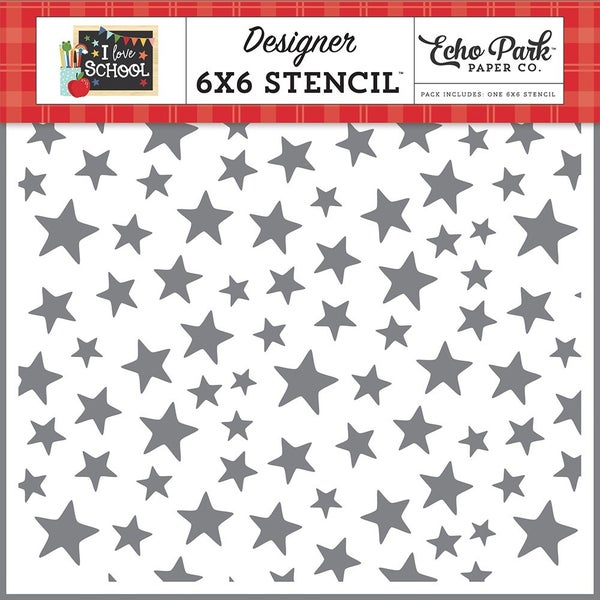 Echo Park  I Love School 6 x 6 Stencil - Smarty Pants Star