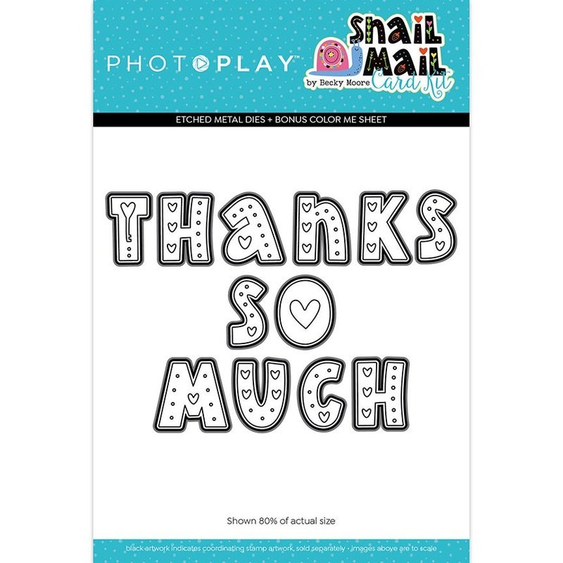 Photo Play Paper - Snail Mail Collection - Etched Die Set - Thanks So Much Letter