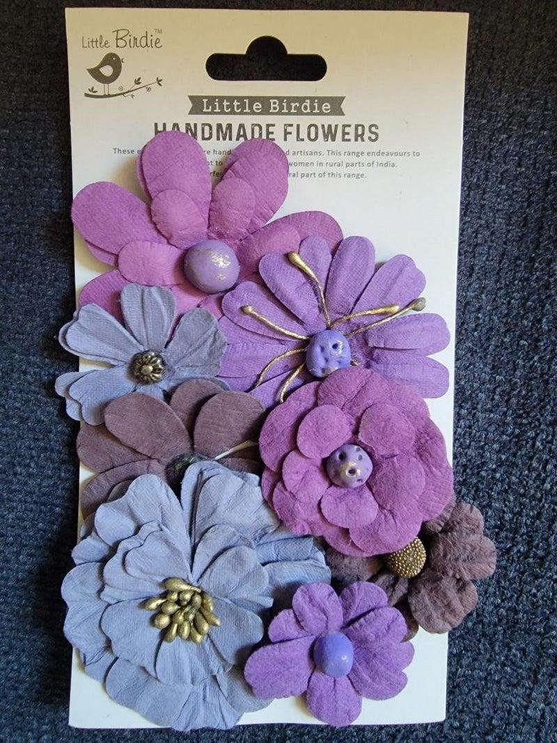 Little Birdie Crafts Symphony Flowers Plum 8 pc
