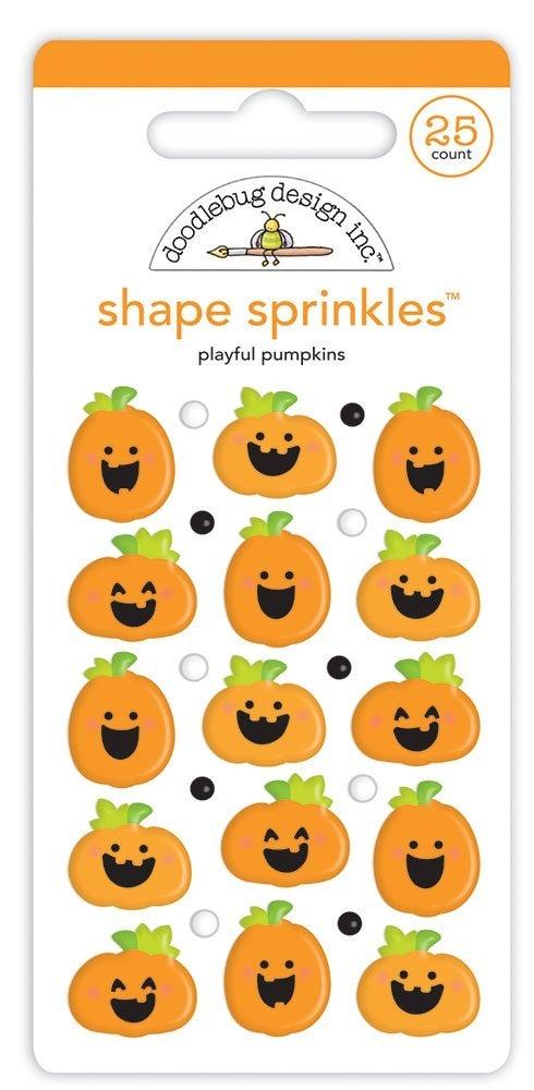 Doodlebug Design - Happy Haunting Collection - Sprinkles - Self Adhesive Enamel Shapes - Playful Pumpkins