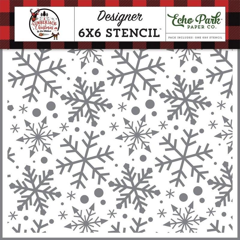 Echo Park A Lumberjack Christmas Jingle Bell Snowflakes Stencil