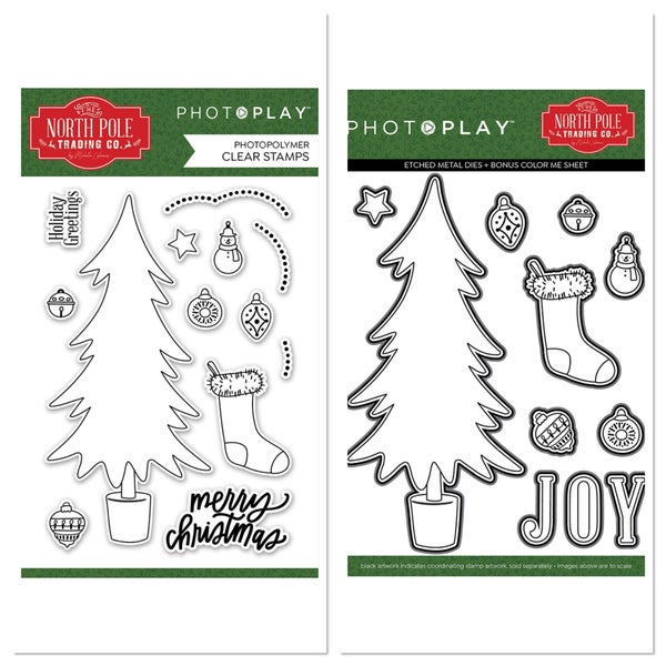 Photoplay North Pole Trading Co Trim A Tree Stamp and Die Set